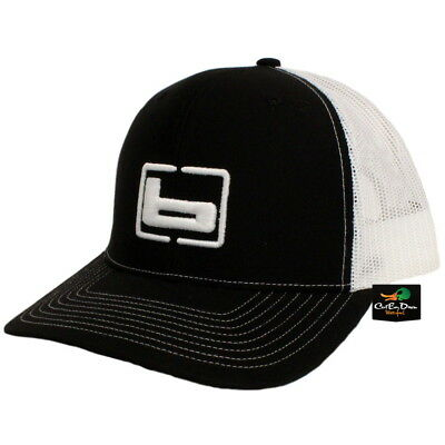 4817053f578 NEW BANDED TRUCKER CAP MESH BACK HAT BLACK AND WHITE W