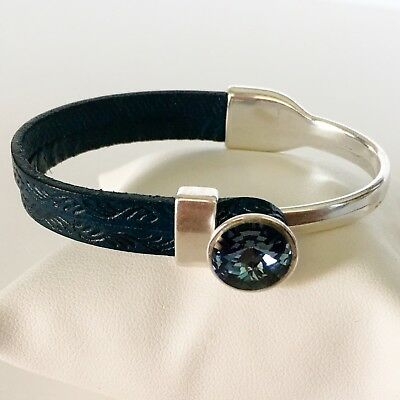 Italian Leather Bracelet with Genuine Swarovski(R) Blue Denim Crystal
