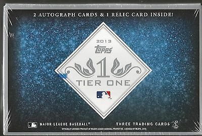 2013 Topps Tier One Baseball Factory Sealed Hobby Box - 2 Autos & 1 Relic a Box