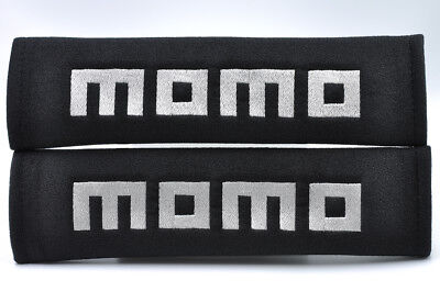 Embroidery Gray on Black Seat Belt Cover Shoulder Pad Pairs with MOMO logo