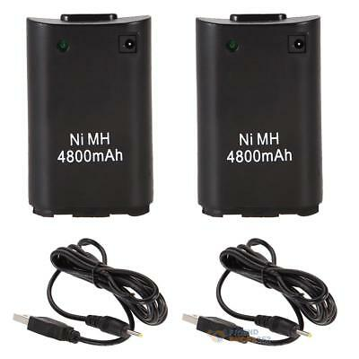 2pcs USB Charger Cable + 4800mAh Rechargeable Battery for XBOX 360 Controlle