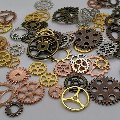 Halloween Decoration Antique Metal Steampunk Gears Charms DIY Assorted Color