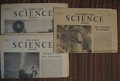 LOT of 3  RARE * VINTAGE * 1965-6 * THE TIMES * SCIENCE REVIEW  * old newspaper