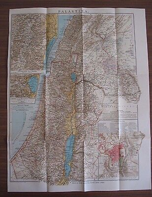 "1927 * RARE ANTIQUE  * OLD PALESTINE MAP  16"" x 21"" * LEIPZIG GERMANY * GERMAN"