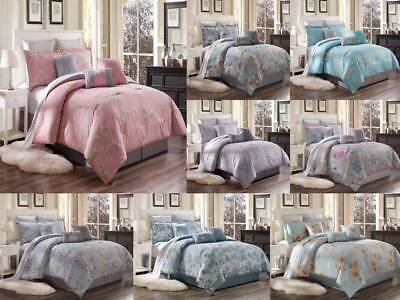 7Pc Soft Cotton Floral Comforter Set Printed Bed Cover Oversized Twin Queen King