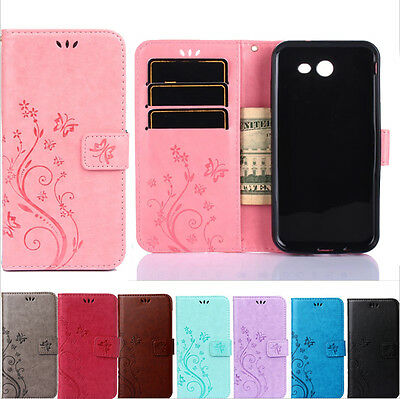 Butterfly Patterned Leather Wallet Stand Card Slot Case Cover For Smart Phones