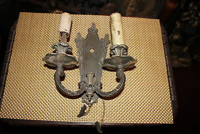 Antique Gothic Medieval Wall Sconce Double Arm Light Fixture-Electric-Metal