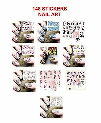 Lot 148 Stickers Autocollants Nail Art Decoration Ongles