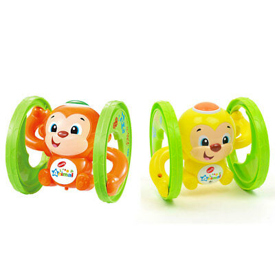 Wind Up Clockwork Cute Animal Little Running Monkey Music Flashing Kids Toys