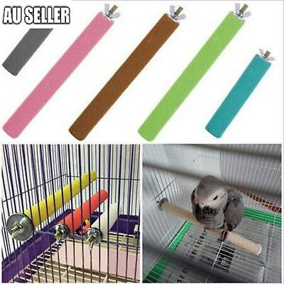 3 Sizes Colorful Pet Bird Cage Perches Stand Platform Chew Toy for Parrot Bites