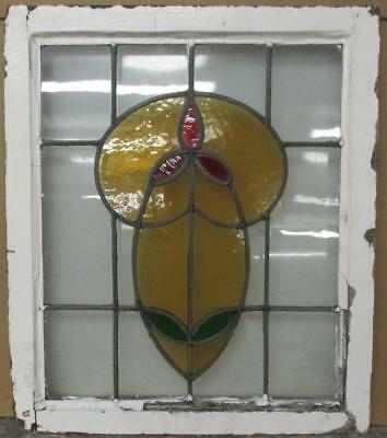 """MID SIZED OLD ENGLISH LEADED STAINED GLASS WINDOW Pretty Floral 21.5"""" x 25"""""""