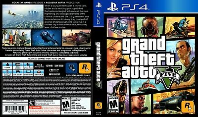 GTA V PS4 Replacement Box Art Case Insert Inlay Cover Scan (Cover Only, no game)