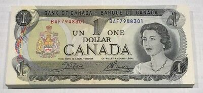 Lot of 100 Consecutive Serial Number 1973 Bank of Canada $1 Banknotes
