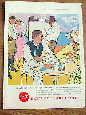 1957 Coke Coca-Cola Ad  Potter Artwork  Famous Canadian Resort Lake Louise
