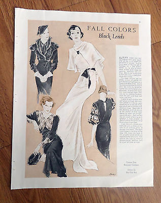 1934 Fashions Clothes Article Ad Fall Colors