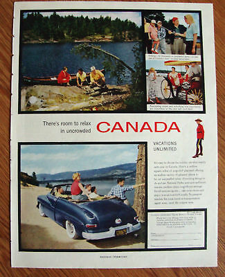 1955 Canada Vacation Travel Ad 1950 Mercury Convertible