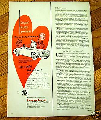 1955 MG A Convertible Ad  High in Style & Spirit!