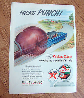 1951 Texaco Sky Chief Ad Packs Punch!    Automobile