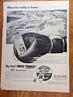 1953 Texaco Oil Gas Ad Sky Chief Packs Punch  The Traffic is Heavy