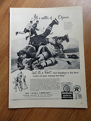 1952 Texaco Havoline Ad Its a matter of Opinion Hockey or Basketball?
