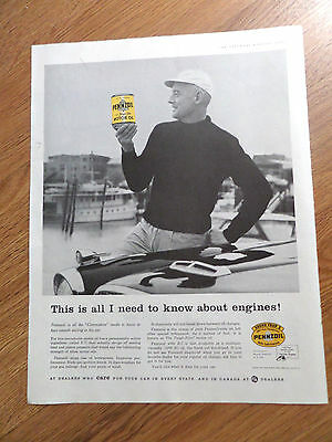 1958 Pennzoil Oil Ad  This is All I Need to Know about Engines  Commodore