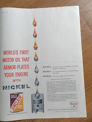 1959 Sinclair Motor Oil Ad Armor-Plates Your Engine with Nickel