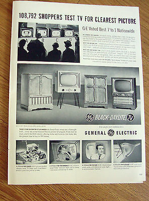 1954 GE General Electric TV Ad 108,792 Shoppers Test Television Clearest Picture