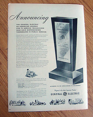 1957 GE General Electric Ad  All-American Awards for Service Technicians