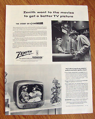 1954 TV Television Ad Zenith Went to the Movies The Story of Cinebeam