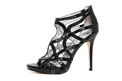 85cb3ce7b6378 Sam Edelman Eden Snake Embossed Black Leather Women Sandal Size 8.5M 2601