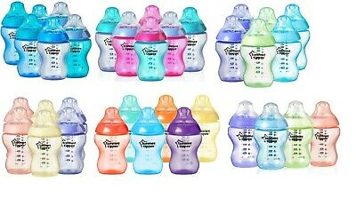 6 x Tommee Tippee Colour My World / Fiesta 260ml Baby Feeding Bottles Girls/Boys