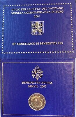Vatican 2007 His Holiness Pope Benedict XVI 80th Birthday 2 Euro Coin