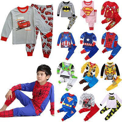 Boys Toddler Kids 2pcs Superhero Outfit Set Pajamas Sleepwear Pyjamas Nightwear