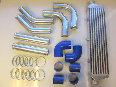 "Universal Front Mount Intercooler Kit FMIC 57mm 2.25"" BLUE HOSES 550x140x65 Core"