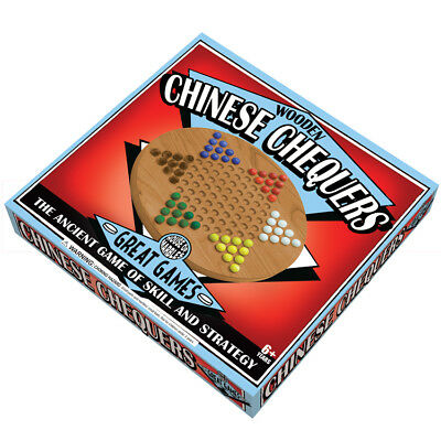 WOODEN CHINESE CHEQUERS with marbles traditional family game boxed ready to wrap