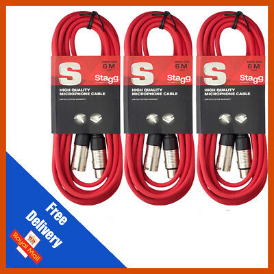 3 x Stagg 6m Red Microphone Cable Lead XLR Mic Quality Band DJ Studio