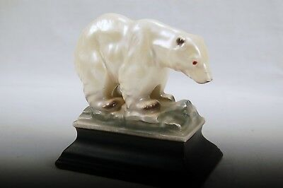 Vintage Polar Bear Porcelain Figurine Statue, Made in JAPAN, Opalescent  White