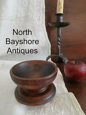 Antique 1800s New England Hand Turned Wooden Treen Salt Bowl Pedestal Base aafa