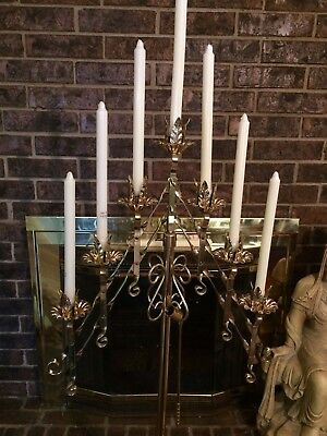 Vintage Brass Candelabra Candle Holder Floor Stand Wedding/Church 60""