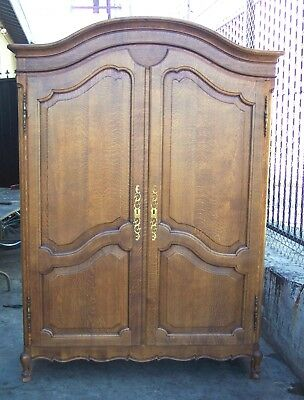 Tiger Quartersawn Oak COUNTRY FRENCH PROVINCIAL 2 Door ARMOIRE WARDROBE Cabinet