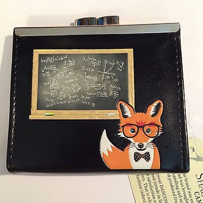 NWT  Shagwear Coin Purse - Professor Fox  Black New with tags