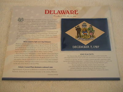 DELAWARE State Flag WILLABEE & WARD PATCH INFO CARD