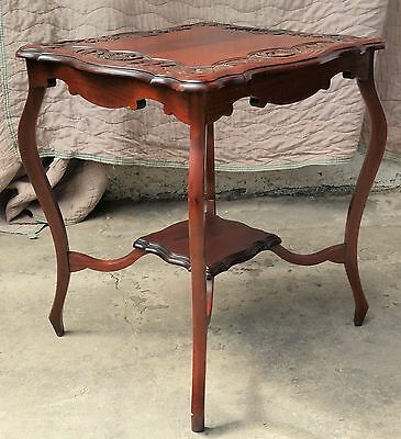 Vintage American Solid MAHOGANY SIDE LAMP TABLE w/ CARVED SHELL Border LA Area