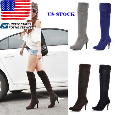 US Ladies Leather / Suede Long Boots Knee High Heels Stiletto Booties Shoes Size