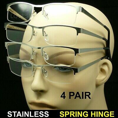 Reading glasses 4 pair stainless steel spring hinge power rimless new four pack