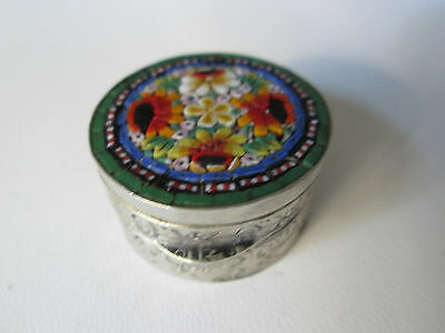 Antique Silver Micro Mosaic Pill or Snuff Box - Italy