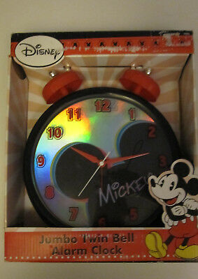 "Disney Mickey Mouse Jumbo 11"" Twin Bell Alarm Clock Battery Foil Face New in Box"