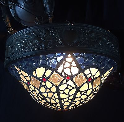 Antique French or Austrian Late Art Nouveau Chandelier w/ Chunk Glass Dome