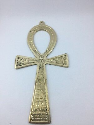 "ANKH 6.3"" BRASS WALL HANGING Engraved key Life Egypt Pharaoh Hieroglyphic"