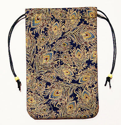 """Golden Feathers Tarot Bag 5""""x7"""" D&D Fully lined Peacock Bag Drawstring Pouch"""